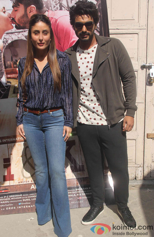 Arjun Kapoor and Kareena Kapoor during the promotion of film Ki and Ka