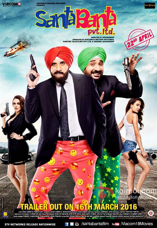 Neha Dhupia,, Boman Irani, Vir Das and Lisa Haydon starrer Santa Banta pvt. ltd. movie poster
