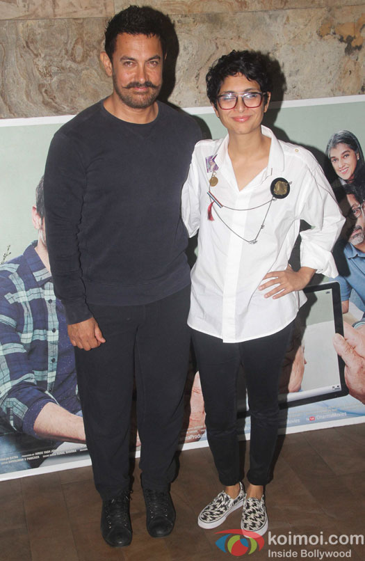 Aamir Khan and kiran Rao during the screening of film Kapoor and Sons