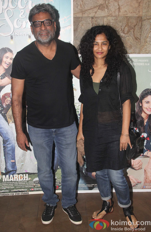 R. Balki and Gauri Shinde during the screening of film Kapoor and Sons