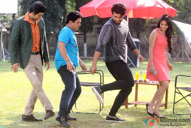 Ali Asgar, Arjun Kapoor and actor Krishna Gokani during the shooting for a special integration sequence for film Ki and Ka on the set TV serial Woh Teri Bhabi Hai Pagle