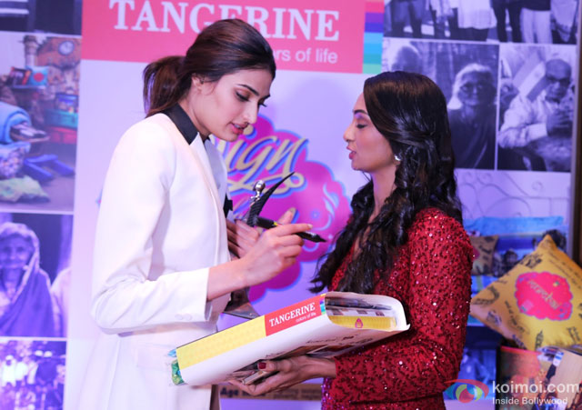 Athiya Shetty during the event to help India's old folks by Tangerine