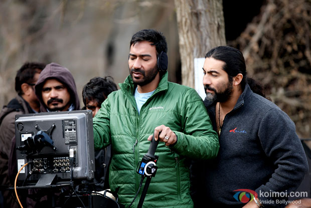 Ajay Devgn snapped on the sets of Shivaay in Bulgaria