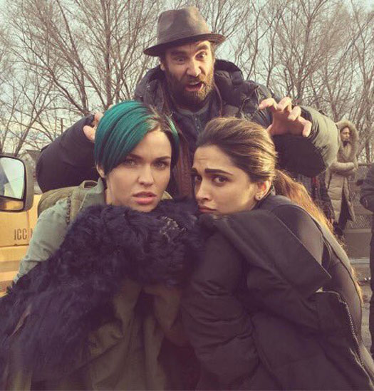 Deepika with Ruby Rose & Kris Wu on the sets of xXx: The Return of Xander Cage