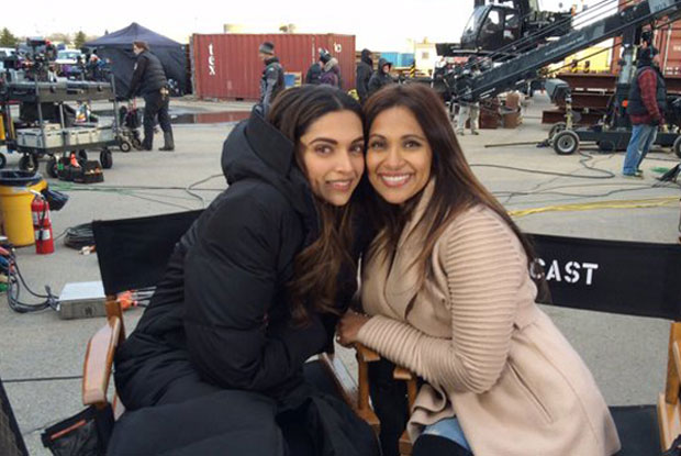 Deepika Padukone with a journalist on the sets of xXx: The Return of Xander Cage