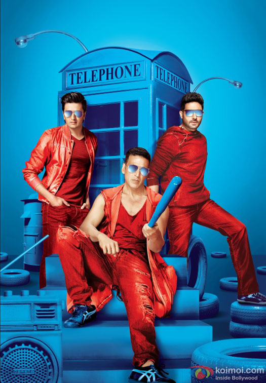 Riteish Deshmukh, Akshay Kumar and Abhishek Bachchan in a first look still from movie 'Housefull 3'