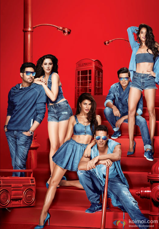 Abhishek Bachchan, Nargis Fakhri, Jacqueline Fernandez, Akshay Kumar, Riteish Deshmukh and Lisa Haydon in a first look still from movie 'Housefull 3'