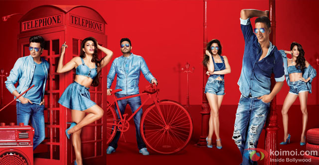 Riteish Deshmukh, Jacqueline Fernandez, Abhishek Bachchan, Nargis Fakhri, Akshay Kumar and Lisa Haydon in a first look still from movie 'Housefull 3'