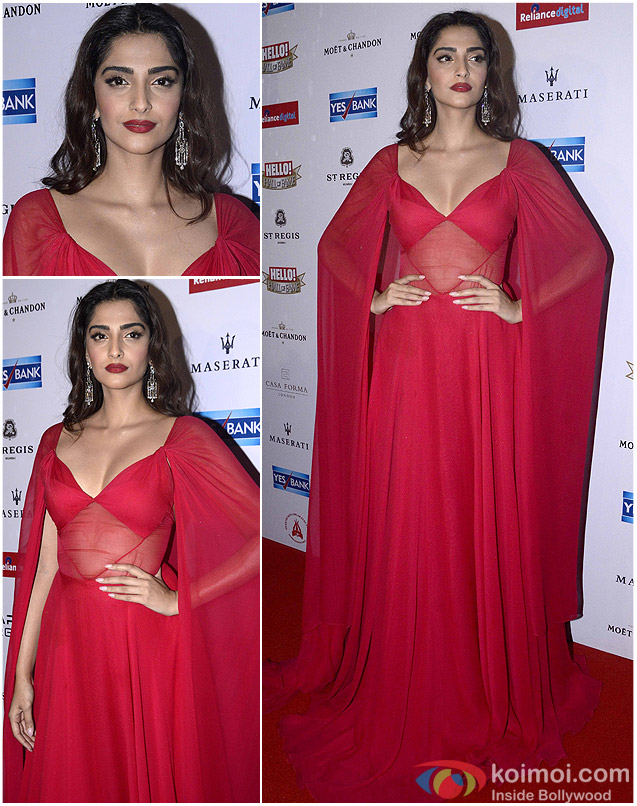 Sonam Kapoor during the Hello! Hall of Fame Awards 2016