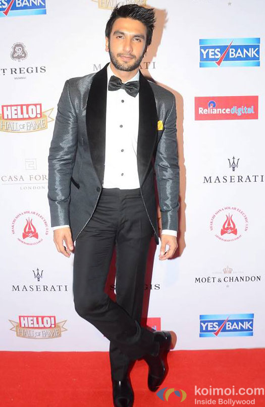 Ranveer Singh during the Hello! Hall of Fame Awards 2016
