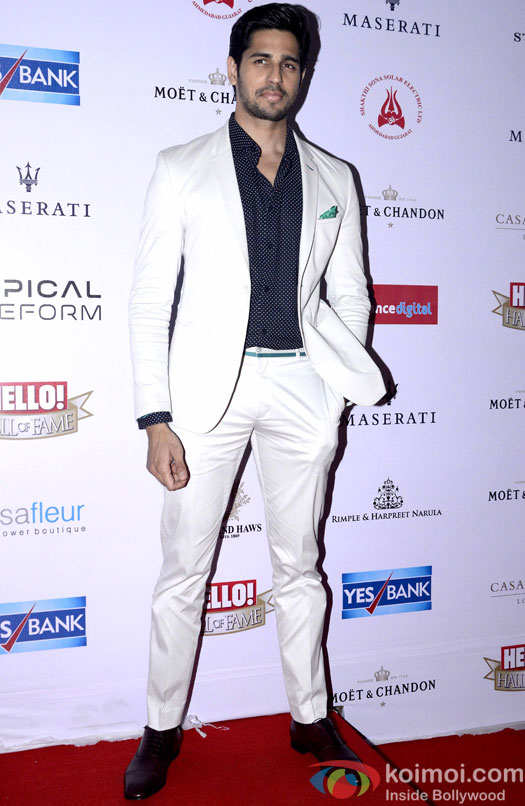 Sidharth malhotra during the Hello! Hall of Fame Awards 2016