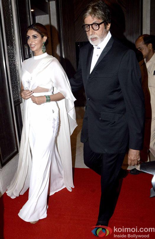 Amitabh Bachchan along with his daughter Shweta Bachchan Nanda during the Hello! Hall of Fame Awards 2016