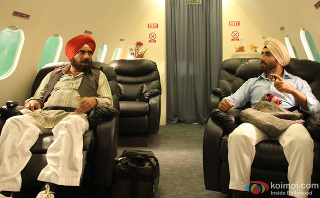 Boman Irani and Vir Das in a still from movie 'Santa Banta Pvt Ltd'