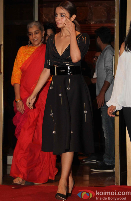 Ratna Pathak and Alia Bhatt during the success party of Kapoor & Sons