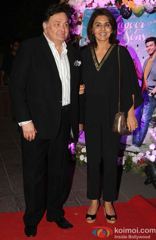 Rishi kapoor And Neetu Singh during the success party of Kapoor & Sons