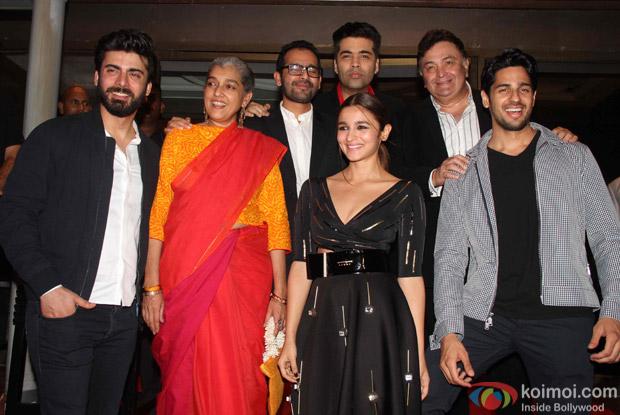 Fawad Khan, Ratna Pathak, Alia Bhatt, Sidharth Malhotra, Rishi Kapoor and Karan Johar during the success party of Kapoor & Sons