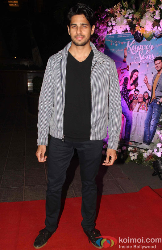 Sidharth Malhotra during the success party of Kapoor & Sons
