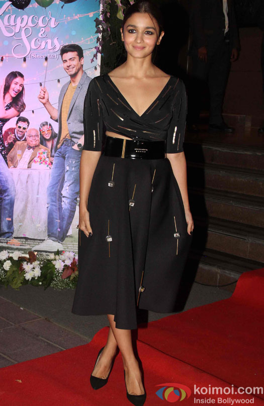 Alia Bhatt during the success party of Kapoor & Sons