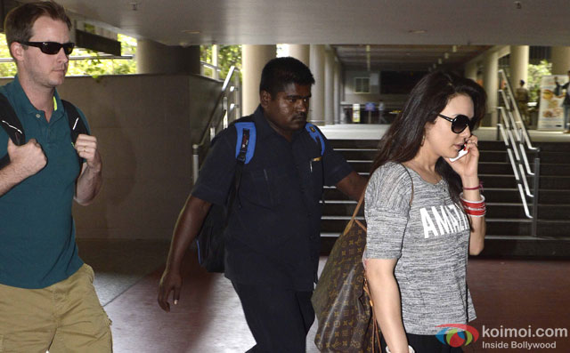 Gene Goodenough and Preity Zinta spotted at Airport