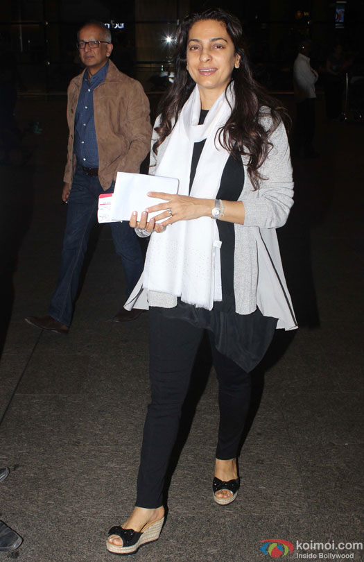 Jay Mehta and Juhi Chawla Spotted At Airport