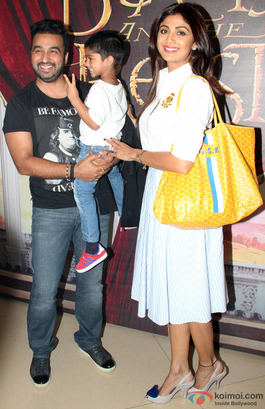 Raj Kundra, Viaan Raj Kundra and Shilpa Shetty during the Disney's 'Beauty And The Beast' Musical Event