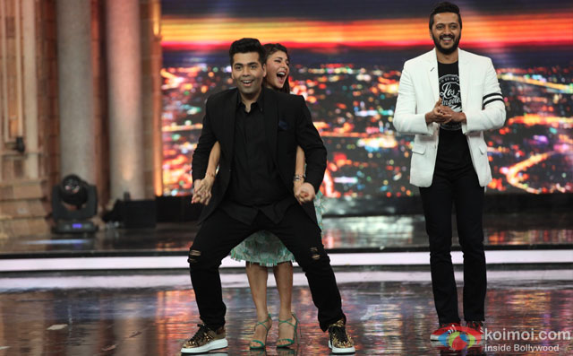 Karan Johar, Jacqueline Fernandez and Riteish Deshmukh during the promotion of film 'Housefull 3' on the sets of 'India's Got Talent'