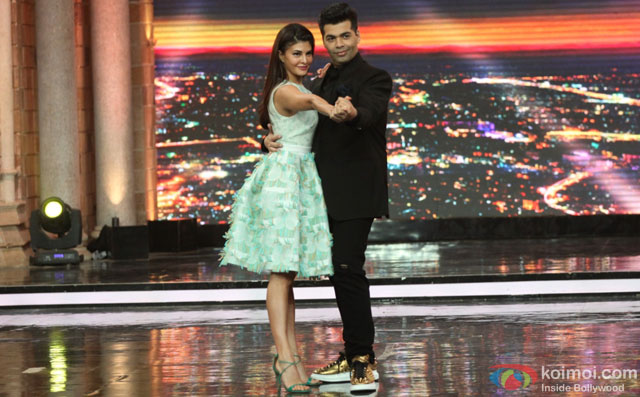 Jacqueline Fernandez and Karan Johar during the promotion of film 'Housefull 3' on the sets of 'India's Got Talent'