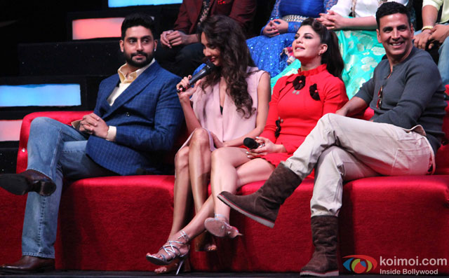 Abhishek Bachchan, Lisa Haydon, Jacqueline Fernandez and Akshay Kumar during the promotion of movie 'Housefull 3' on the sets of 'Sa Re Ga Ma Pa'