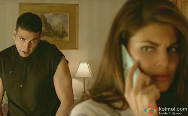 Akshay Kumar and Jacqueline Fernandez in a still from movie Housefull 3