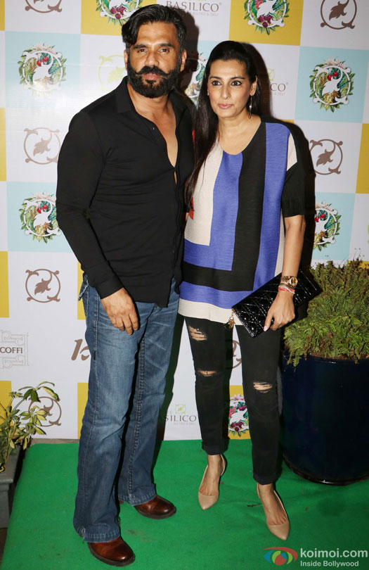 Suniel Shetty and Mana Shetty during the Launch of Cafe Basilico