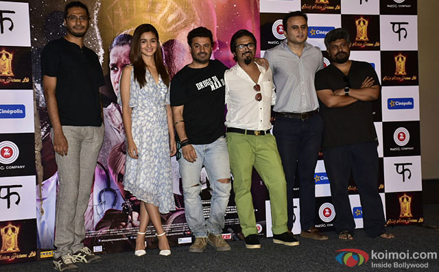 Alia Bhatt, Vikas Bahl and Amit Trivedi during the launch of 'Ikk Kudi' song from movie 'Udta Punjab'