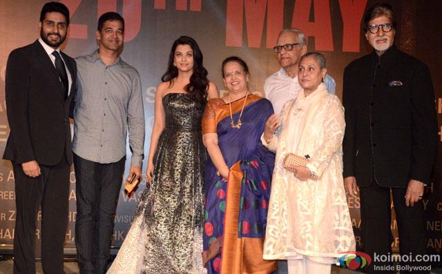 Abhishek Bachchan, Aishwarya, Brinda Rai, Jaya Bachchan, Krishnaraj Rai and Amitabh Bachchan during the Premiere Of Film Sarbjit