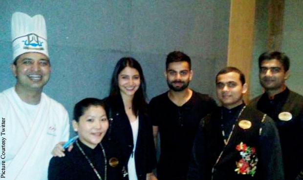 Anushka and Virat clicked at the Japanese restaurant EDO, posing with all the chefs