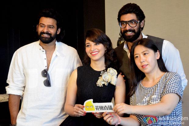 Prabhas, Tamannaah Bhatia and Rana Daggubati interacting with the Chinese media