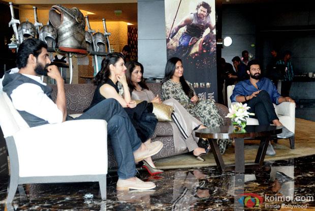 Rana Daggubati, Tamannaah Bhatia, Ramya Krishna, Anushka Shetty and Prabhas interacting with the Chinese media