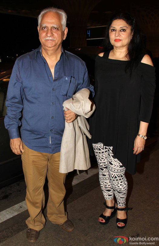 Ramesh Sippy and Kiran Juneja at airport leave for IIFA 2016
