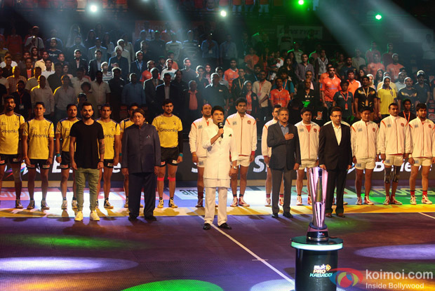 Virat Kohli and Kapil Sharma during the fourth season of Pro-Kabaddi League 2016