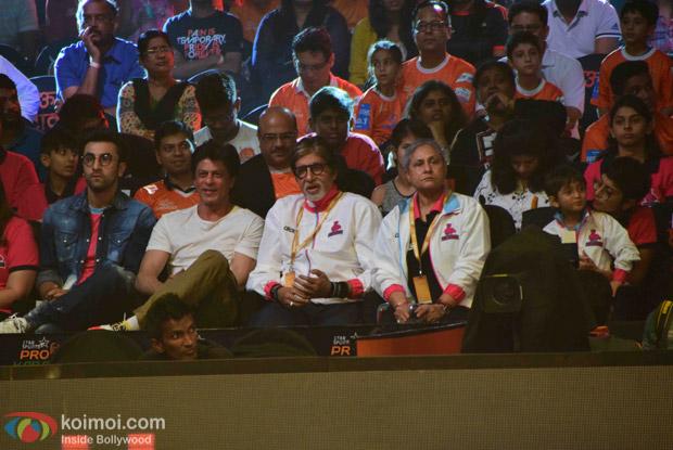 Ranbir Kapoor, Shahrukh Khan, Amitabh Bachchan and Jaya Bachchan during the fourth season of Pro-Kabaddi League 2016