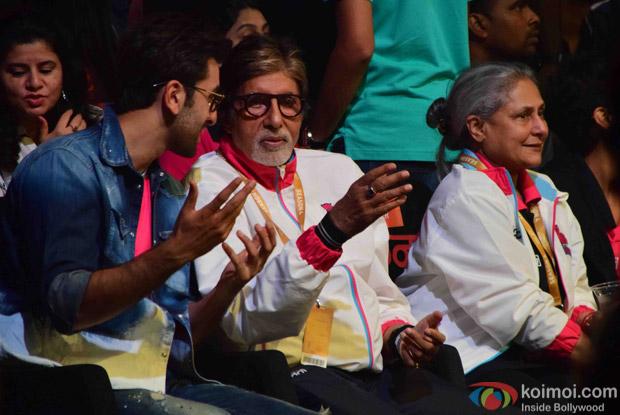 Ranbir Kapoor, Amitabh Bachchan and Jaya Bachchan during the fourth season of Pro-Kabaddi League 2016