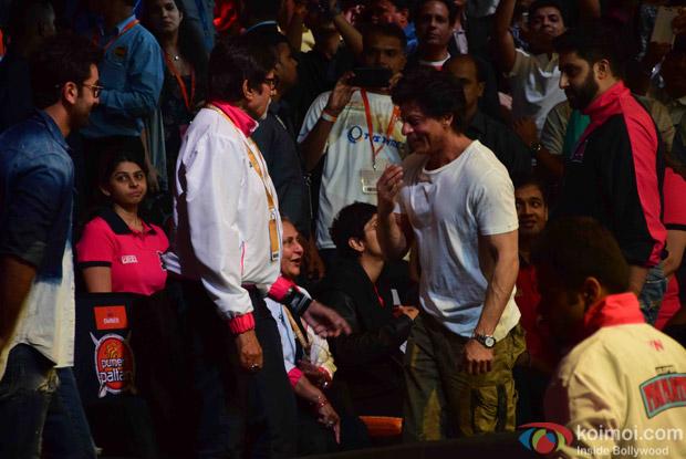 Ranbir Kapoor, Shahrukh Khan, Amitabh Bachchan, Abhishekh Bachchan and Jaya Bachchan during the fourth season of Pro-Kabaddi League 2016