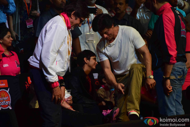 Ranbir Kapoor, Amitabh Bachchan and Kiran rao during the fourth season of Pro-Kabaddi League 2016
