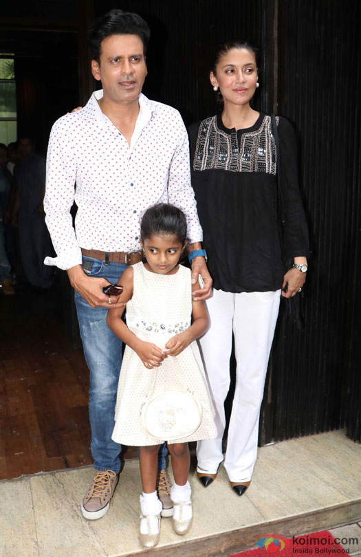 Manoj Bajpayee, Ava Nayla and Neha Bajpayee during the world premiere of short film 'Kriti'