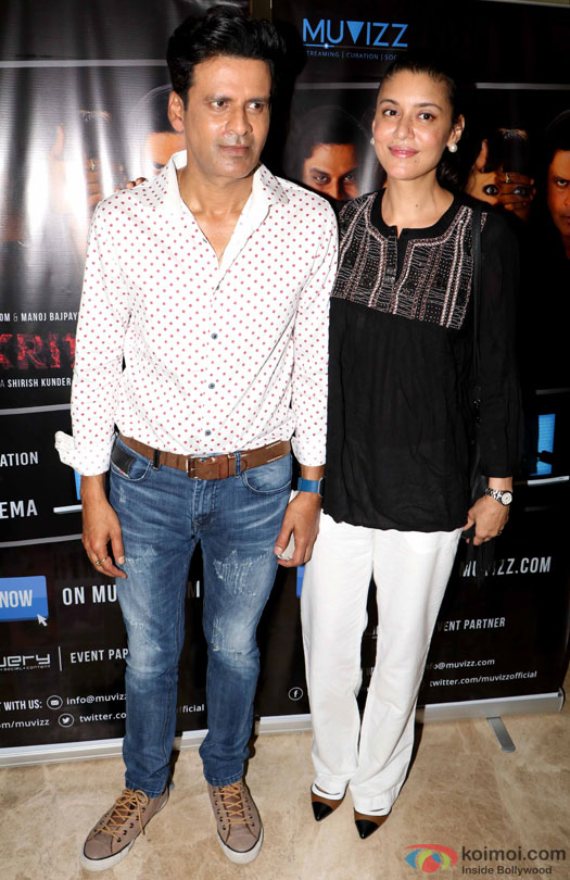 Manoj Bajpayee and Neha Bajpayee during the world premiere of short film 'Kriti'