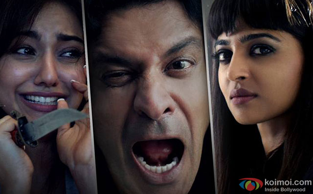 Neha Sharma, Manoj Bajpayee and Radhika Apte in a still from short film 'Kriti'