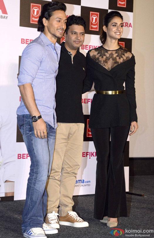 Tiger Shroff, Bhushan Kumar and Disha Patani during the launch of 'Befikra' Song