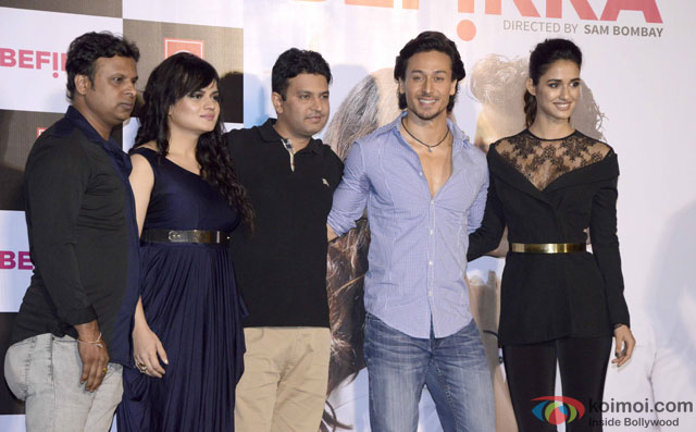 Kumaar, Aditi Singh Sharma, Bhushan Kumar, Tiger Shroff and Disha Patani during the launch of 'Befikra' Song