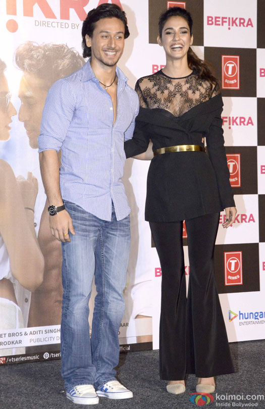 Tiger Shroff and Disha Patani during the launch of 'Befikra' Song