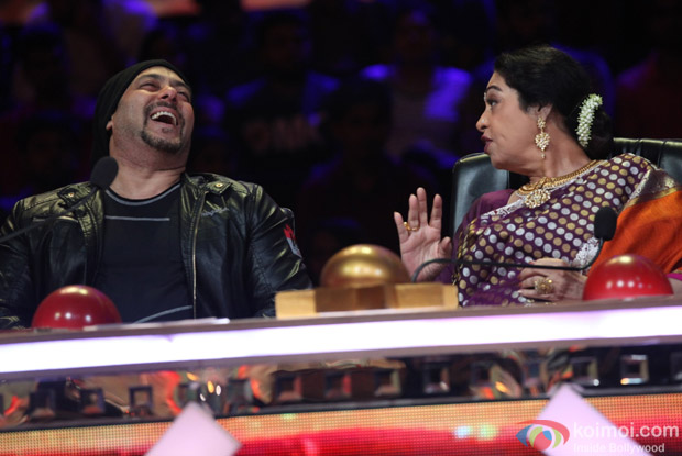Salman Khan and Kiran Kher on the sets of India's Got Talent