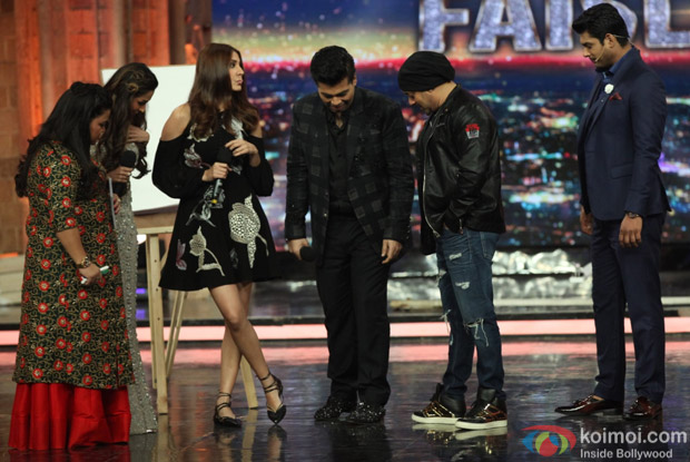 Anushka Sharma, Karan Johar and Salman Khan on the sets of India's Got Talent