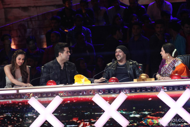 Anushka Sharma, Karan Johar, Malaika Arora Khan and Salman Khan on the sets of India's Got Talent